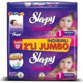 Sleepy 2li Jumbo No 1 2 5kg 80li Sensitive Bebek Bezi Yenidoğan