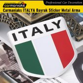 Carmaniaks Italy Bayrak Sticker Metal Çelenk Arma