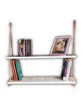 Dekoratif Raf Duvar Rafı Ahşap Raf Halat Raf Duvara Asılan Kitaplık Halatlı Duvar Rafı Model İkea