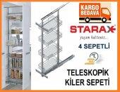 Starax 4 Sepetli Teleskopik Kiler Sistemi Raylı Mutfak Sepet 38 C