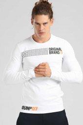 Tommy Life Nokta Desenli Beyaz Erkek Sweatshirt