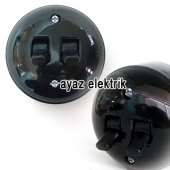 Sıva Üstü Klasik İkili Komütatör Anahtar, Siyah Renk Eski Model İkili Anahtar Priz