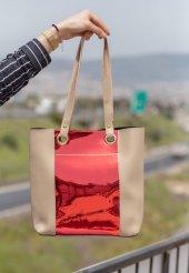 Veda Krem Cilt Kırmızı Hologram Detaylı Çanta
