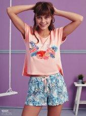 çiçek Desen Detaylı Şortlu Pijama Takımı Bb 1001