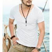 Erkek Derin Yaka Beyaz Tshirt , Pis Biye Bay T Shi...