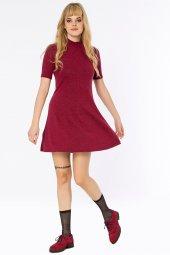 Asmara Dik Yaka Basic Bordo Elbise 160138 2