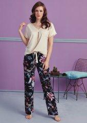 Bitki Desen Detaylı Pijama Takımı Bb 1009