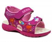 Gezer 7981 Fuşya Kız Çocuk Sandalet Cırtlı Yazlık Ayakkabı