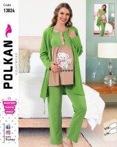 Polkan 13024 Bayan 3lü Hamile Lohusa Pijama Takımı