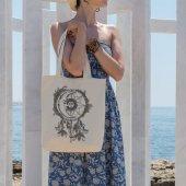 Angemiel Bag Güneş Sarmaşık Motifleri Alışveriş Plaj Bez Çanta