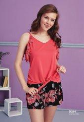 çiçek Desen Detaylı Dantelli Şortlu Pijama Takımı Bb 1084