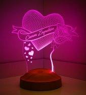 3d Led Lamba 3 Boyutlu Gül Ve Kalp Kişiye Özel Hediye Gecelambası