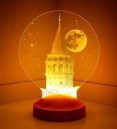 3d 3 Boyutlu Led Lamba Galata Kulesi Özel Hediye G...