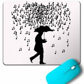 Playıng Musıc In The Raın Nota Yağmuru Şemsiye Mouse Pad