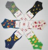 Sara Donna Meyve Desenli Bayan Patik Çorap 6 Adet (#1)