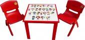 çocuk Masa Sandalye Takımı Kırmızı Alfabe 2s...