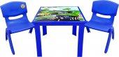 çocuk Masa Sandalye Takımı Mavi Araba 2s