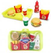 Tepsili Oyuncak Hamburger Seti