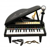 Pilli Sesli Işıklı Ortaboy Piyano Siyah