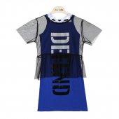 Zekids Kız Çocuk Defend Yazılı Tüllü Elbise