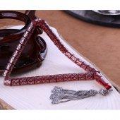 Muhteşem Ateş Kehribarı Gümüş İşlemeli Kesme Modeli Tesbih