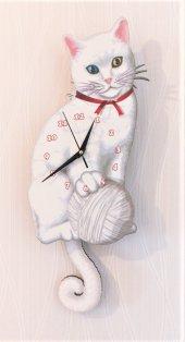 Van Kedisi Sallanır Sarkaçlı Duvar Saati