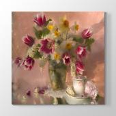 Eski Çiçek Vazo I Tablosu 70 Cm X 70 Cm