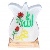Lale Desenli Allah Muhammet Lafzı Logolu Kaya Tuzu Lambası 2 3kg