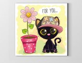 Kara Kedicik Ve Çiçek Tablosu