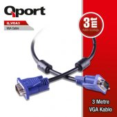 Qport Q Vga3 3 Metre Vga Kablo