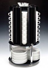 Polikarbonat Fincan Tabak Kaşık Standı Döner 30 X 55 Cm
