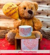 Aşk Balonlu Peluş Ayıcık Ve 100 Dilde Seni Seviyorum Kutulu Kupa Sevgiliye Hediye Seti