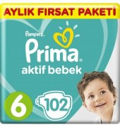 Prima Aktif Bebek Aylık Fırsat Paketi 6 Beden 13 18 Kg 102 Adet