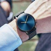 Erkek Kol Saati Siyah Gümüş Hasır Kordon Şık Tasarımlı Saat