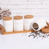 Bambu Stantlı Porselen 4&#039 Lü Baharatlık