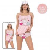 Cupcake Desenli Şortlu Yazlık Bayan Pijama Takımı
