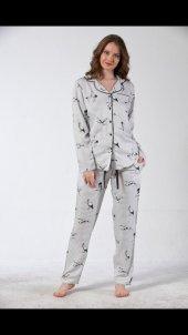 Rose Gull Exculusive Collection Önden Düğmeli İpek Saten Pijama Takımı