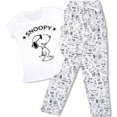 Snoopy Desenli Kısa Kollu Bayan Pijama Takımı