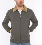 Genıus Store Haki Erkek Kürklü Yaka Fermuarlı Ceket+3renk