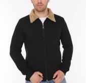 Genıus Store Siyah Erkek Kürklü Yaka Fermuarlı Ceket+3renk