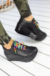 Zeyna Siyah Yüksek Taban Bayan Spor Ayakkabı