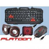 Platoon Pl 125 4 In 1 Oyuncu Set Klavye Mouse Speaker Mousepad