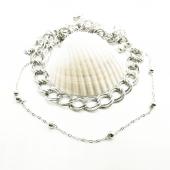 Gümüş Renk İkili Zincir Geçmeli Metal Boncuklu Kolye