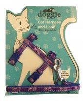 Doggie Gülücük Kedi Göğüs Tasması 22 36 Cm Mavi