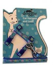 Doggie Patili Kedi Göğüs Tasması 22 36 Cm Mavi