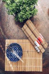 6lı Bej Bambu Amerikan Servis Takımı
