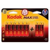 Kodak 6+2 Max Süper Alkalin Kalem Pil Aa