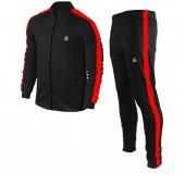 Erkek Siyah Sporcu Eşofman Takım Kırmızı Şerit