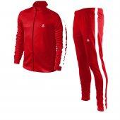 Erkek Kırmızı Sporcu Eşofman Takımı Beyaz Şerit