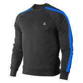Erkek Siyah Sweatshirt Mavi Şerit